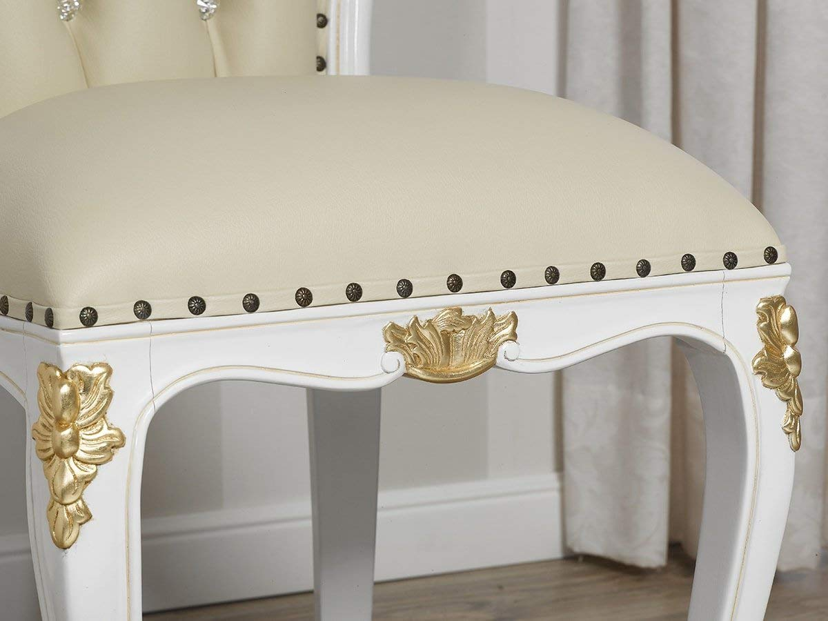 Silla barroca blanca y dorado